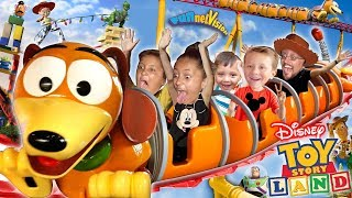 TOY STORY LAND Slinky Dog Dash Roller Coaster! Disney