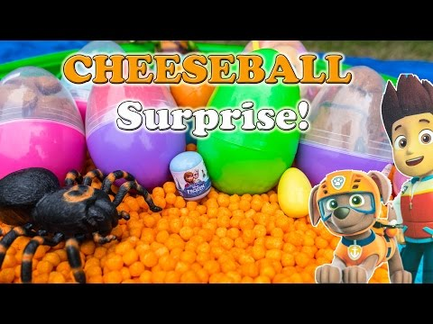 What is in  Funny Paw Patrol Surprise Eggs Opened by The Assistant