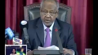 President of Djibouti, Esmael Omargile, speaks at the Parliament