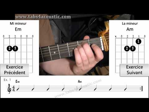 Exercices de guitare - Les enchainements d'accords ouverts - 1 : Em et Am