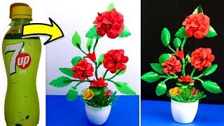 How to make rose flower tree with plastic bottles - Crafts with plastic bottle - Best out of waste