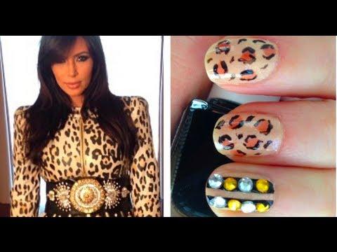 Kim Kardashian Leopard Rhinestone Nails