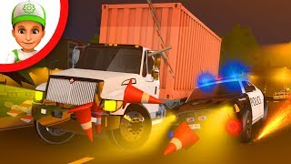 Big Truck vs Police Car cartoon Police car chase siren. Truck kids movie. Car for children.