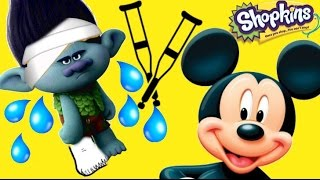 Dreamworks Trolls Movie, Song and Dance Branch is Sad and Breaks Leg! Mickey Mouse Helps Creative