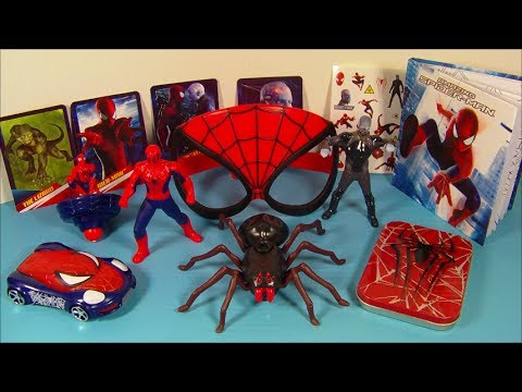 2014 THE AMAZING SPIDER-MAN 2 SET OF 8 McDONALD'S HAPPY MEAL MOVIE TOY'S VIDEO REVIEW