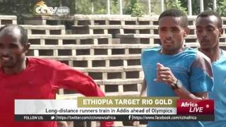 Long-distance runners train in Addis ahead of Olympics