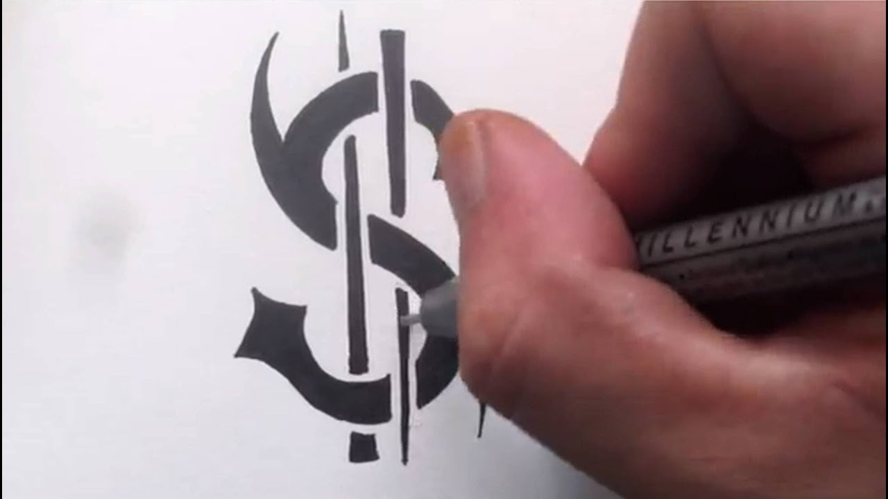 How To Draw a DOLLAR SIGN - Tattoo Design Quick Sketch ...