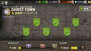The Walking Dead: No Man's Land Weekly Challenge Ghost Town level 20 /2 Missions 6/6 3 Stars