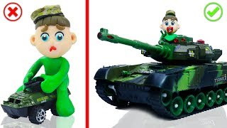 BABY VEHICLE TANK TRANSFORMATION 💖 Animation Cartoons Play Doh