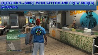 GTA 5 GLITCHED T-SHIRT WITH WITH TATTOO AND CREW EMBLEM SHOWING ON BACK
