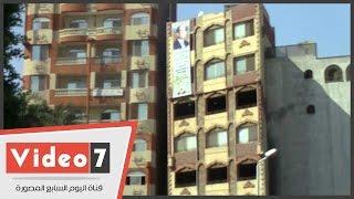 بالفيديو.. كارثة.. برج سكنى مائل يهدد حياة أهالى مصر القديمة