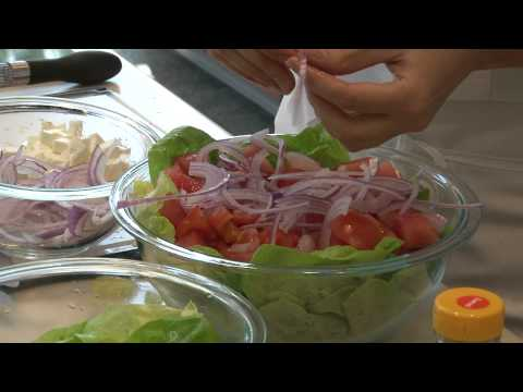 Watermelon, tomato and feta cheese salad demonstration