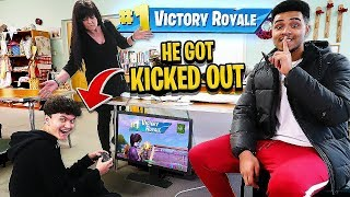 I got my 16 Year Old Little Brother EXPELLED from SCHOOL (Fortnite)