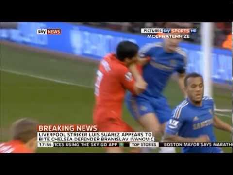 Luis Suarez vs Ivanovic Luis Suarez Bites Branislav