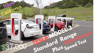 Tesla Model 3 Standard Range Plus Supercharger TEST and Cost 2019 Chargepoint vs 120 outlet Napa CA