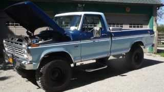 Review of a 1975 Ford F250 High Boy Ranger 4x4 For Sale~Automatic~New Hummer Tires~Runs Awesome!