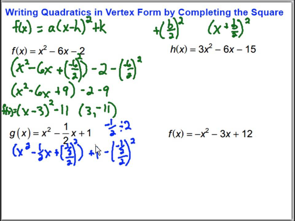 Writing Quadratic Functions in Vertex Form by Completing the ...
