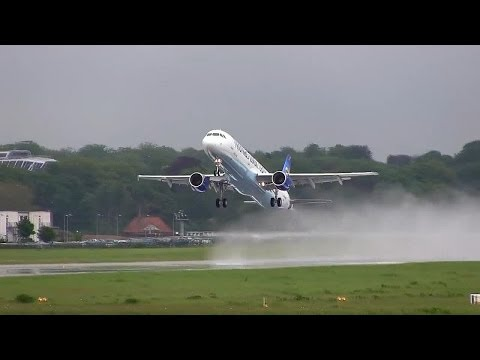 Airbus A321 Wet TakeOff and Landing  - First Flight / Thomas Cook Airlines