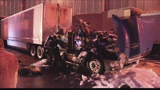 Semi-truck catches on fire at Berry Global