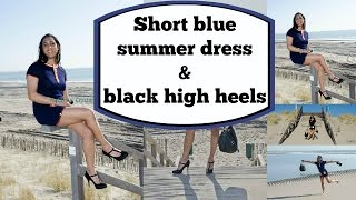 Crossdresser - blue summer dress and black high heels pumps | NatCrys