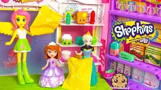Disney Frozen Queen Elsa, MLP Fluttershy at Shopkins Small Mart Opening Season 3 12 Pack