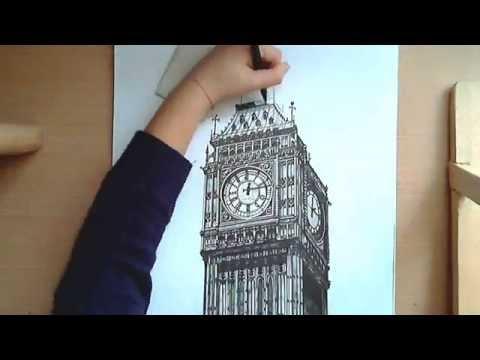 Видео как нарисовать Биг-Бен карандашом поэтапно