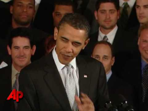 Raw Video: Obama Greets Yankees at WH Video