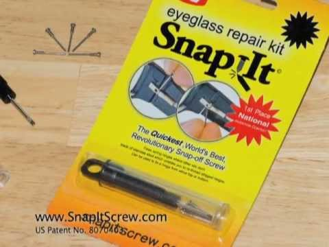 Broken Glasses Frame Fix : Fix Broken Glasses the Easy Way with SnapIt Screws - YouTube