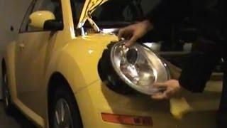How to change headlight bulb on VW Beetle 2009-10