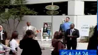 Preaching outside Joel Osteen's Lakewood Church in Houston