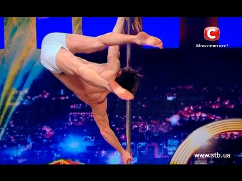 Male dancer showed amazing pole dance on Ukraine's got talent