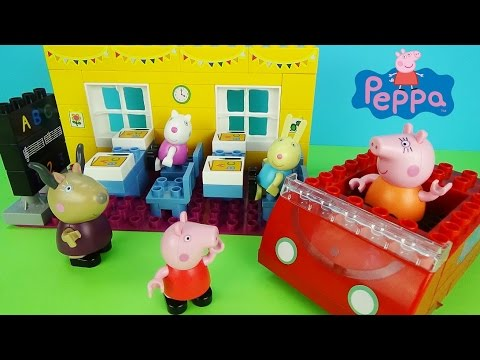"""Свинка Пеппа Конструктор """"Идем в школу"""" и """"Машинка"""" Собираем и играем для детей Peppa Pig Toys"""