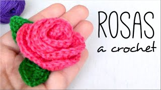 ROSAS con HOJAS a Crochet | How to crochet a ROSE (with leaves)