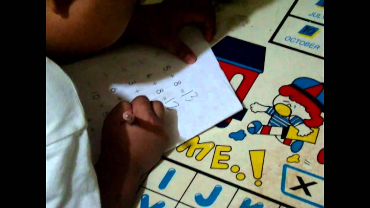 KUMON Math - 4 year old doing his addition - YouTube
