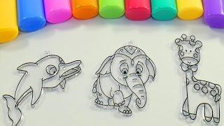 Раскраски для детей Сборник Разукрашивать Витражи Учим цвета Учим животных для самых маленьких