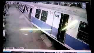 [CCTV Footage] Mumbai Local Train Overshoots Platform At Churchgate! [Indian Railways]