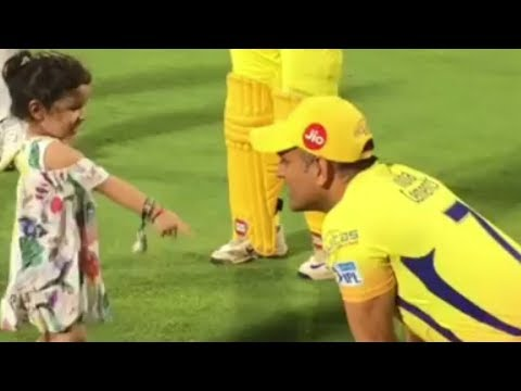 Ms Dhoni Playing with Ziva in Ground | CSK vs KXIP | Match 56 Highlights | IPL 2018 Best Moments |