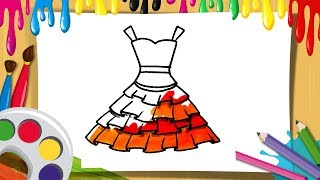 Draw and color Girls Dresses Drawing and Coloring For Kids | Drawings for kids