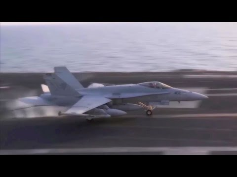 U.S. Navy Deploys F/A-18 To Hit ISIS Targets - Aircrafts Launch & Recovery.