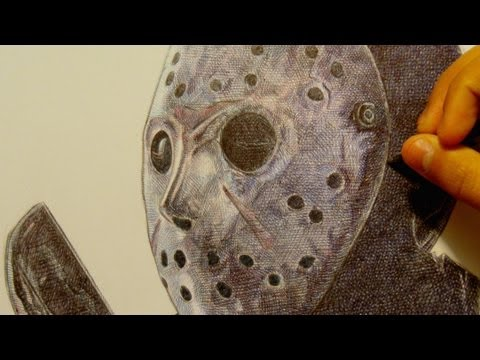 Drawing Jason Voorhees (Friday the 13th) with Ballpoint Pen