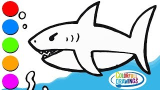 Glitter Scary Shark Coloring with Baby Shark Song for Kids