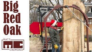 Slabbing a Big Red Oak Butt Log