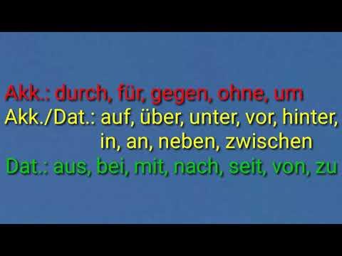 German Prepositions: aus, bei, mit, nach, seit, von, zu, in, an, auf, über, unter, vor, hinter, nebe