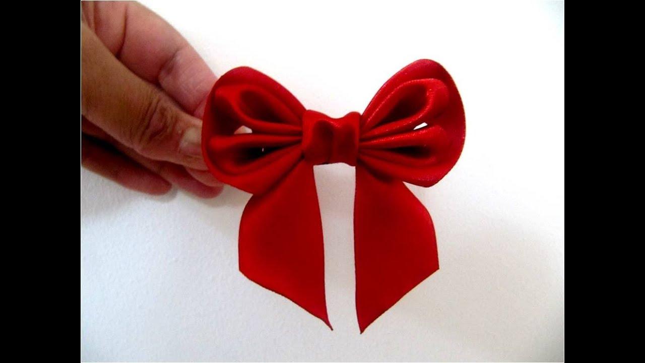 Mo os para el cabello con cintas dobladas en dos piezas youtube - Lazos grandes para regalos ...