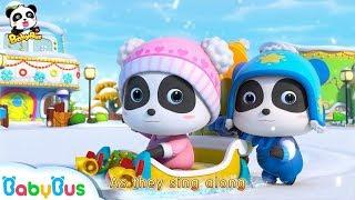 Baby Panda Rides Christmas Sleigh | Snowball Fight, Snowman, Flurry  | Christmas Story | BabyBus