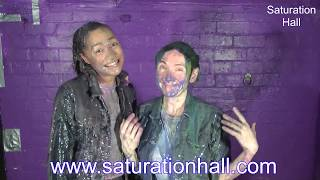 Friday and Cindy get gunged in jeans and jackets