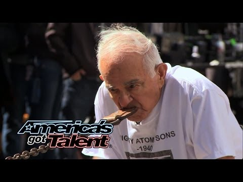 Mighty Atom Jr.: 93-Year-Old Strongman Pulls Car With Teeth - America's Got Talent 2014 (Highlight)
