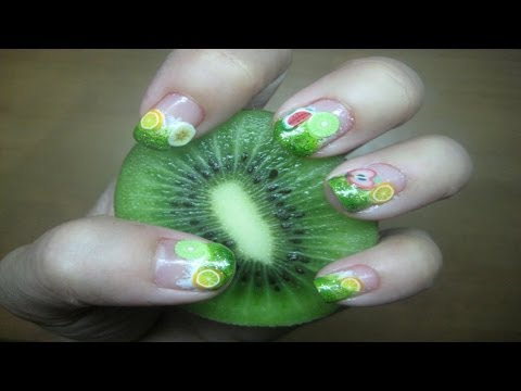 Fimo Fruits Nail Art Tutorial (short nails)