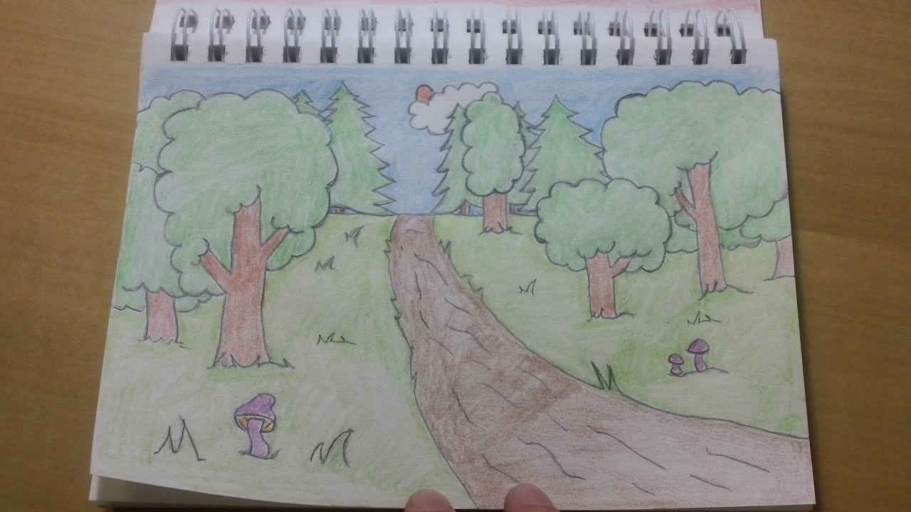 Easy Forest Tree Drawing Cool Easy Cartoon Forest