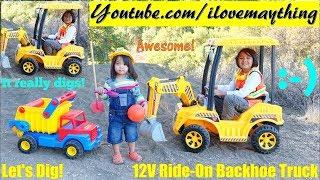 Kids' Toy TRUCKS: Construction Workers Pretend Play. Power Wheels Backhoe Construction Truck